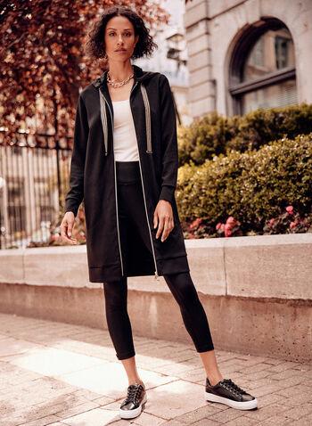 Long Contrast Zipper Jacket, Black,  Fall winter 2021, tops, hoodie, jacket, long, hood, stripe print,