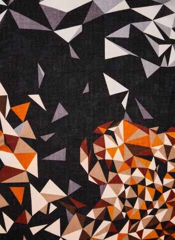 Mosaic Print Scarf, Brown,  lightweight scarf