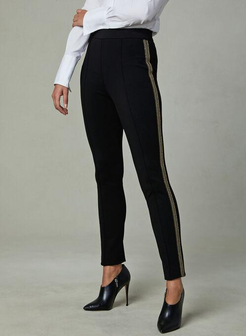 Metallic Trim Slim Leg Pants, Black, hi-res