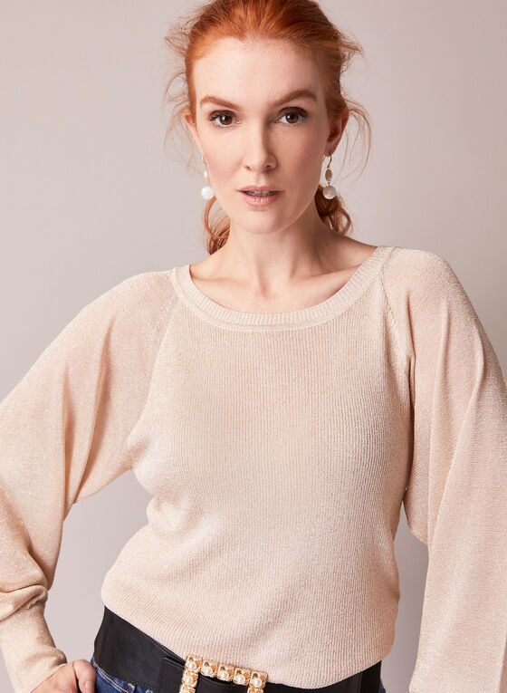 Shimmer Sweater With Puffed Sleeves , Pink