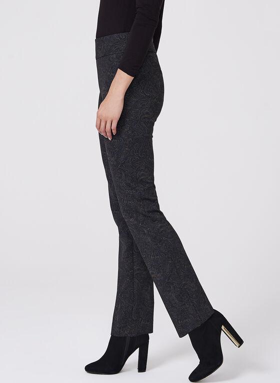 Pantalon pull-on à jambe droite et motif tapisserie, Noir, hi-res