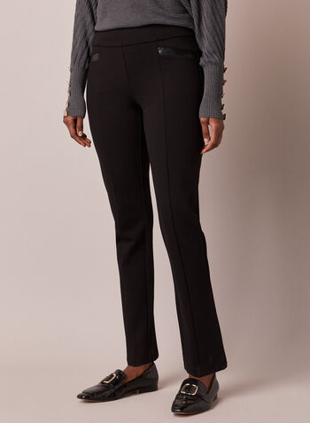 Pantalon Madison à jambe étroite, Noir,  pantalon, madison, étroit, similicuir, point de rome, automne hiver 2020