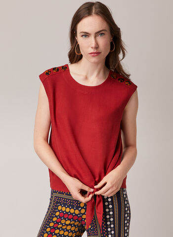 Linen Blend Knot Detail Blouse, Red,  blouse, linen, cap sleeves, round neck, button details, spring summer 2020
