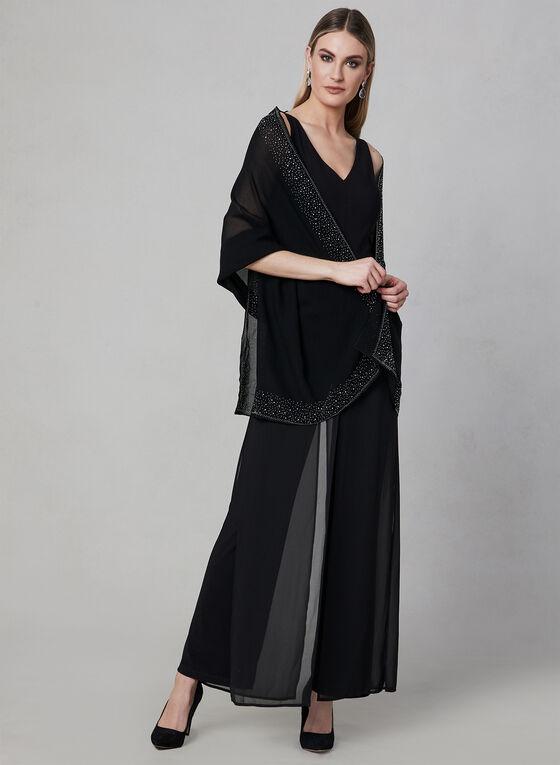 Foulard pashmina à bordure de pierres, Noir, hi-res