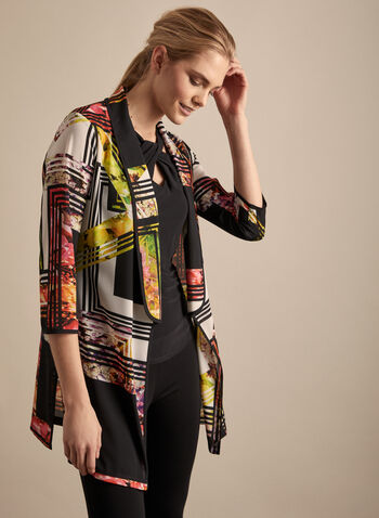 Frank Lyman - Printed Duster, Black,  spring summer 2020, 3/4 sleeves, crepe fabric