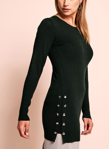 Crew Neck Jersey Knit Sweater, Green, hi-res