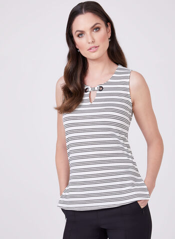 Stripe Print Tank Top, White, hi-res