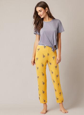 Pyjama à motif fleurs et rayures, Gris,  automne hiver 2020, ensemble, pyjama