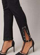 Embellished Hem Slim Leg Jeans, Black