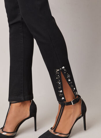 Embellished Hem Slim Leg Jeans, Black,  jeans, slim, denim, faceted stones, embellishments, fall winter 2020