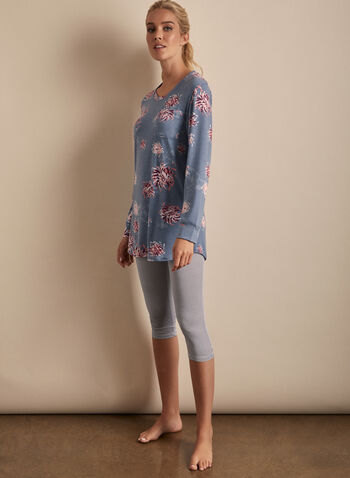 Comfort & Co. - Two-Piece Pyjama Set, Blue,  pyjamas, sleepwear, 2-piece, capris, t-shirt, floral, stripes, stretchy, crew neck, pull-on, spring summer 2020