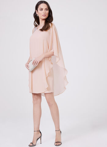 BA Nites - Robe à col asymétrique et mousseline style cape, Rose, hi-res
