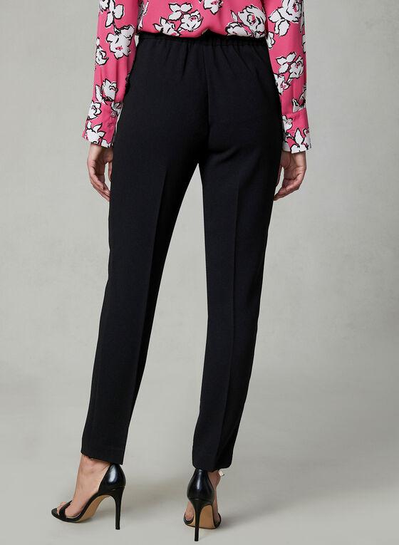 Slim Leg Crepe Pants, Black, hi-res