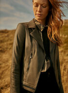 Vex - Faux Leather Zipper Detail Jacket, Green