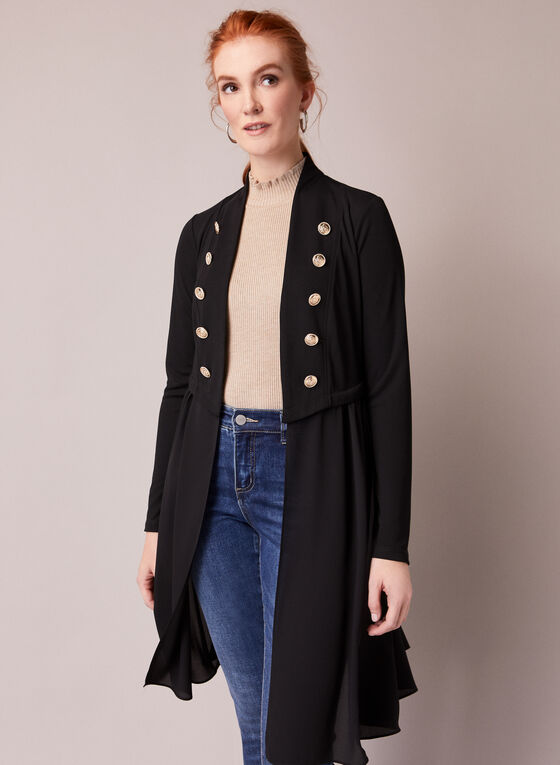 Military Style Open Front Top, Black