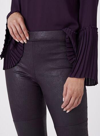 Pantalon pull-on à jambe étroite en faux cuir craquelé, Violet, hi-res