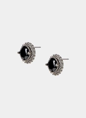 Clous d'oreilles à pierre ronde et cristaux, Gris, hi-res