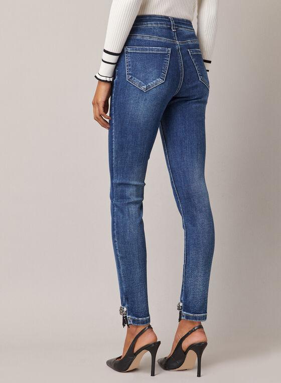Embellished Hem Slim Leg Jeans, Blue