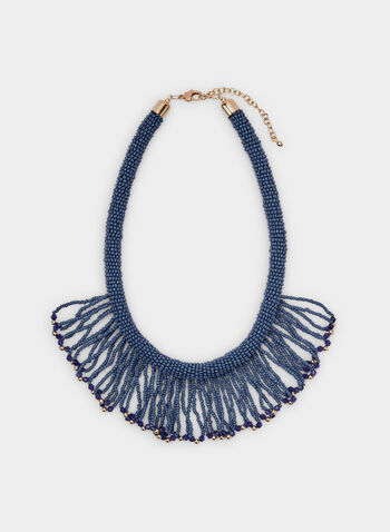 Collier court avec frange de billes, Bleu,  seed beads, short necklace, beaded necklace, spring 2019, summer 2019