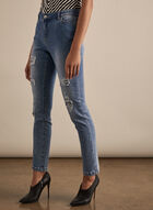 Distressed Slim Leg Jeans, Blue