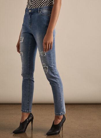 Jeans troué à sequins et jambe étroite, Bleu,  jeans, trous, sequins, jambe étroite, coton, poches, printemps été 2020