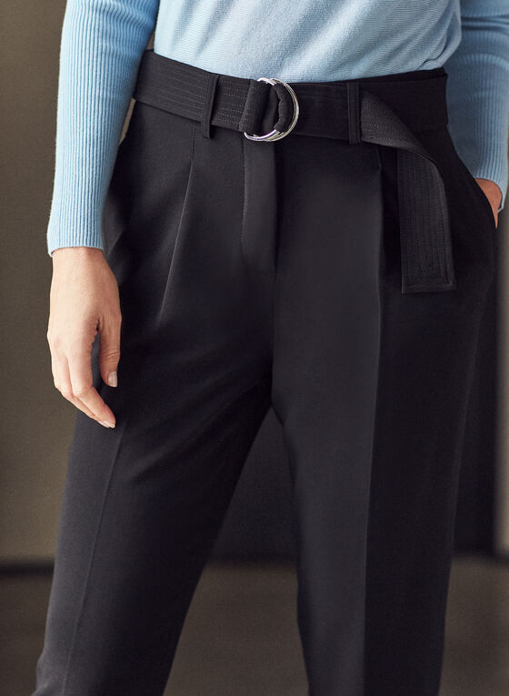 Belted Ankle Length Pants, Black