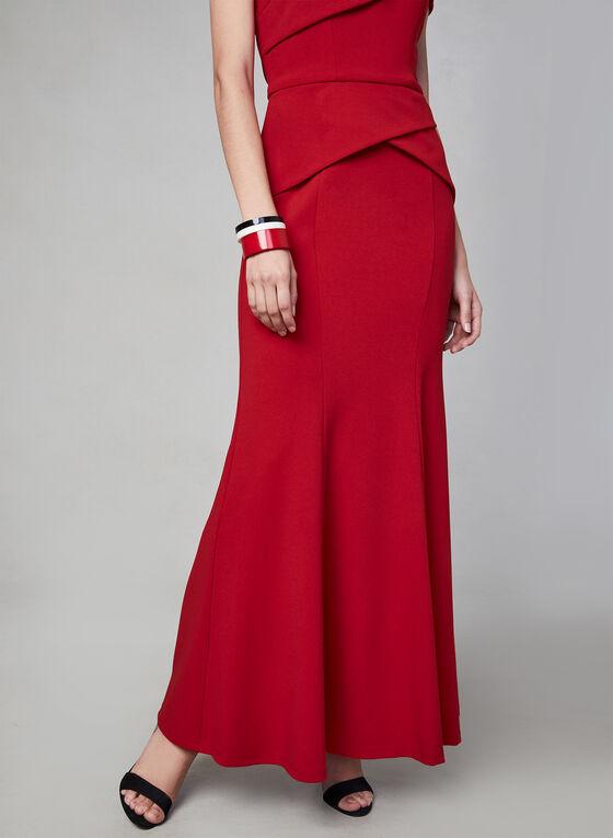Cachet - Robe péplum à épaule dénudée, Rouge, hi-res