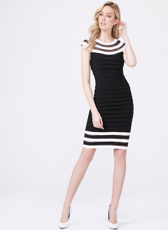 Adrianna Papell – Illusion Neck Shutter Tuck Dress, Black, hi-res