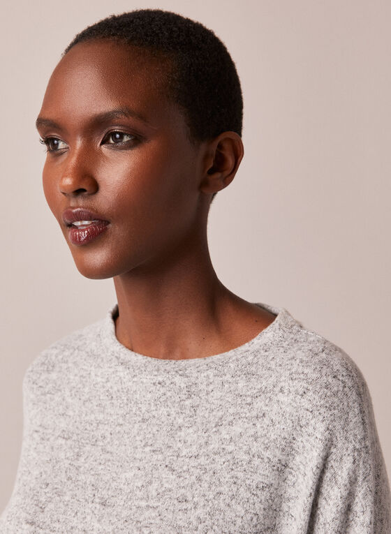 Crew Neck Sweater Knit Top, Grey
