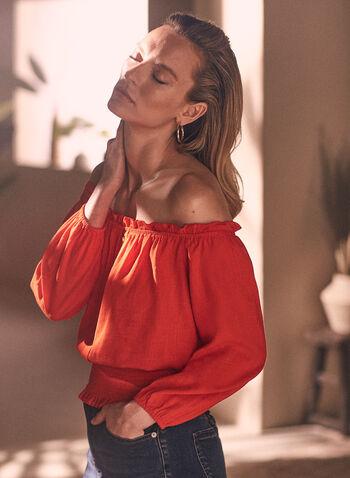 Linen Blend Bardot Neckline Blouse, Red,  blouse, linen, balloon sleeves, bardot, off the shoulder, smocked, spring summer 2020