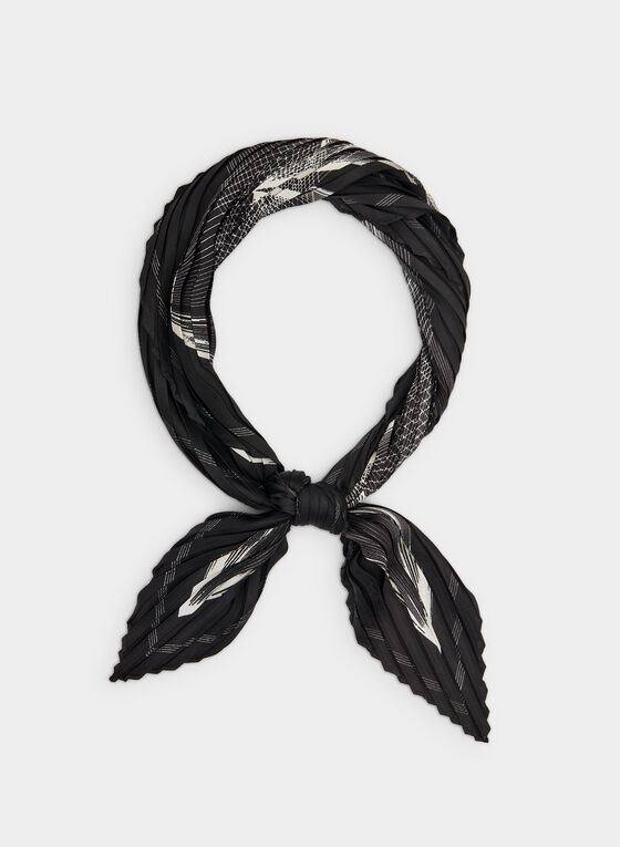 Abstract Print Pleated Scarf, Black