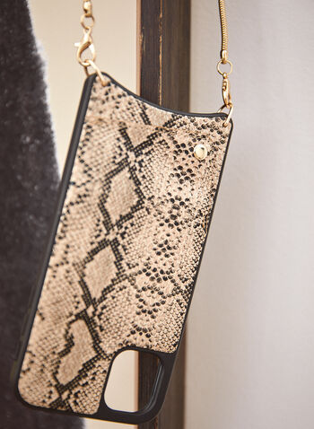 Snakeskin iPhone Case With Crossbody Chain, Off White,  fall 2021, accessories, handbags, bag, phone holder, phone case, iPhone case, iPhone, crossbody, removable strap, card slit, hard shell case, vegan leather, faux leather, snakeskin, snake print, chain, chain strap