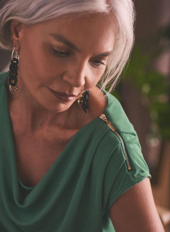 Haut uni à col drapé et détail zippé, Vert