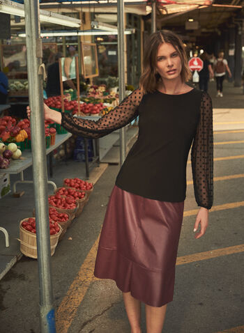 Polka Dot Mesh Sleeve Top, Black,  made in Canada, top, long sleeves, mesh, polka dot, fall winter 2021