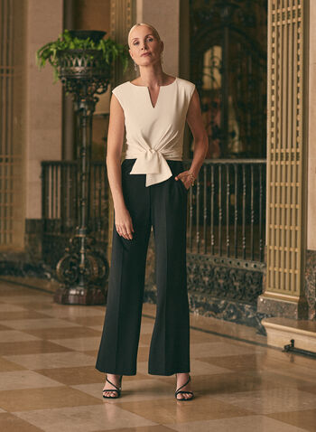 Combinaison à détail noué à la taille, Noir,  combinaison, nœud, jambe large, mancherons, encolure fendue, col fendu, poches, crêpe, printemps été 2021