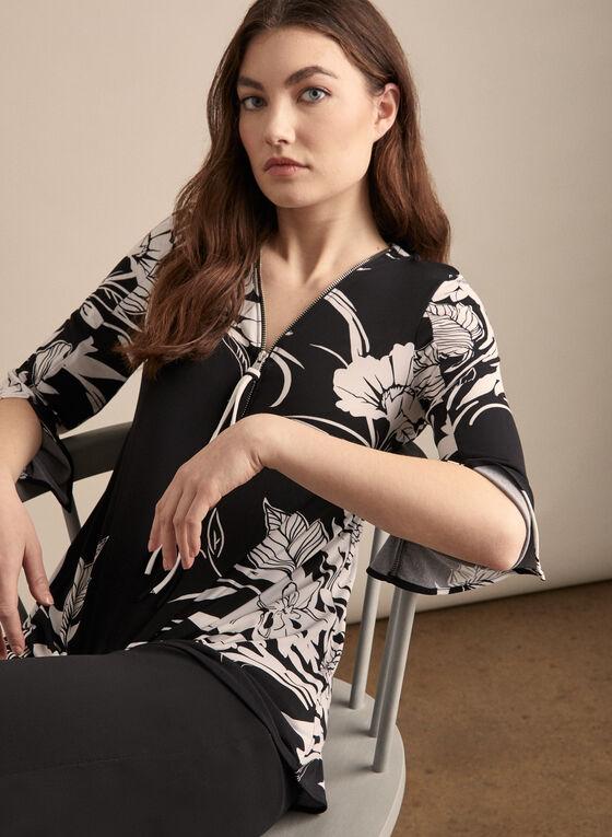 Joseph Ribkoff - Zipper Detail Floral Print Top, Black