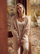 Cardigan long ouvert en tricot, Rose