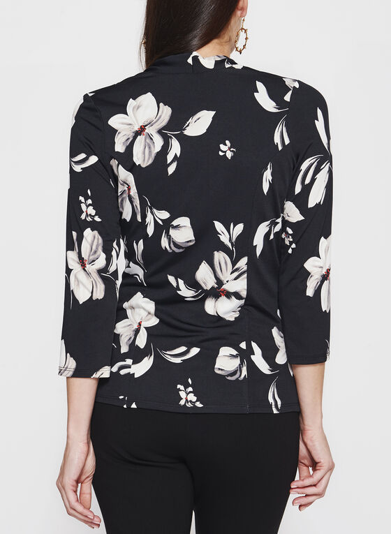 Floral Print Faux Wrap Top , Black, hi-res