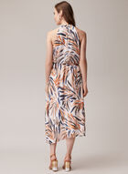 Leaf Print Sleeveless Dress, Brown