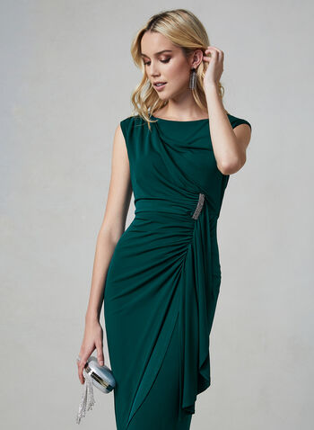 Maggy London - Ruched Jersey Dress, Green, hi-res,  Maggy London, dress, jersey, extended shoulders, ruching, V-back, midi, fall 2019, winter 2019
