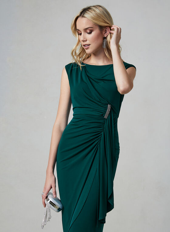 Maggy London - Ruched Jersey Dress, Green