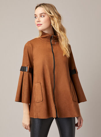 Joseph Ribkoff - Faux Suede Poncho, Brown,  fall winter 2020, coat, suede, faux, Joseph Ribkoff, poncho, vegan leather, details, 3/4 sleeves, high collar