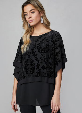 Layered Burnout Kimono Top, Black,  top, kimono, burnout, velour, floral print, crepe top, fall 2019, winter 2019