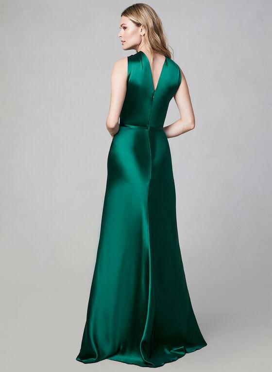 Terani Couture - Robe satinée sans manches, Vert, hi-res