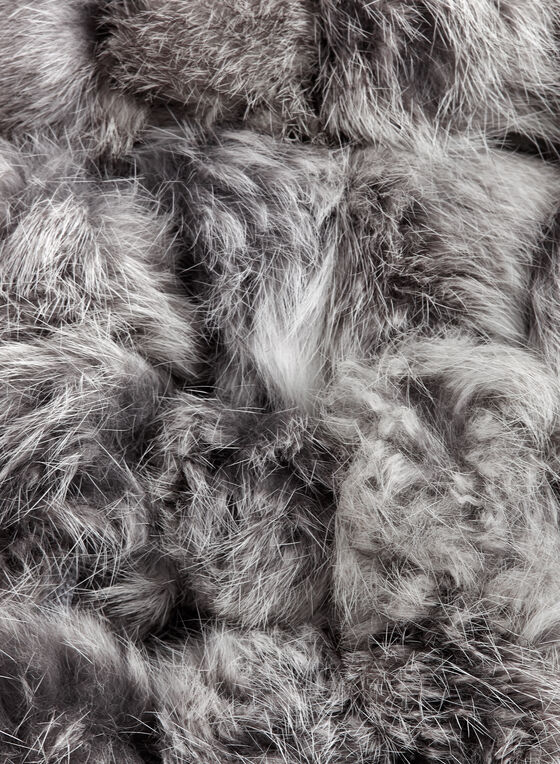 Rabbit Fur Pom Pom Scarf, Grey, hi-res