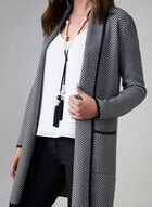 Herringbone Print Cardigan, Grey, hi-res