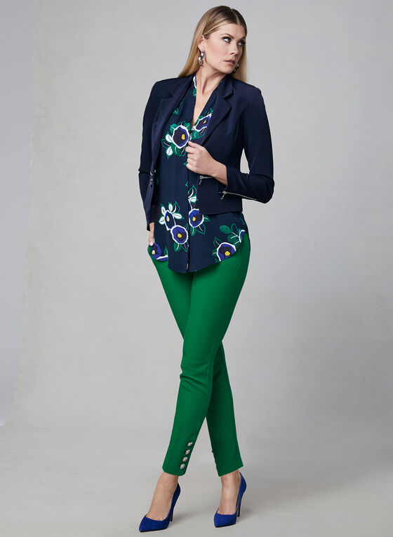 Floral Print Sleeveless Blouse, Green