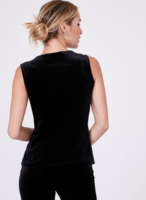 Sleeveless Velvet Top , Black, hi-res