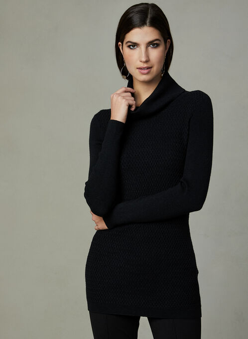 Cowl Knit Sweater, Black, hi-res