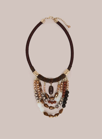 Beaded Drape Effect Necklace, Brown,  necklace, beads, faceted, drape, tiered, fall winter 2020